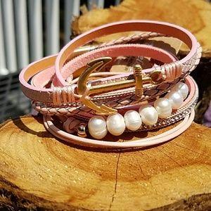 Jewelry - Freshwater Pearl Leather Wrap Bracelet